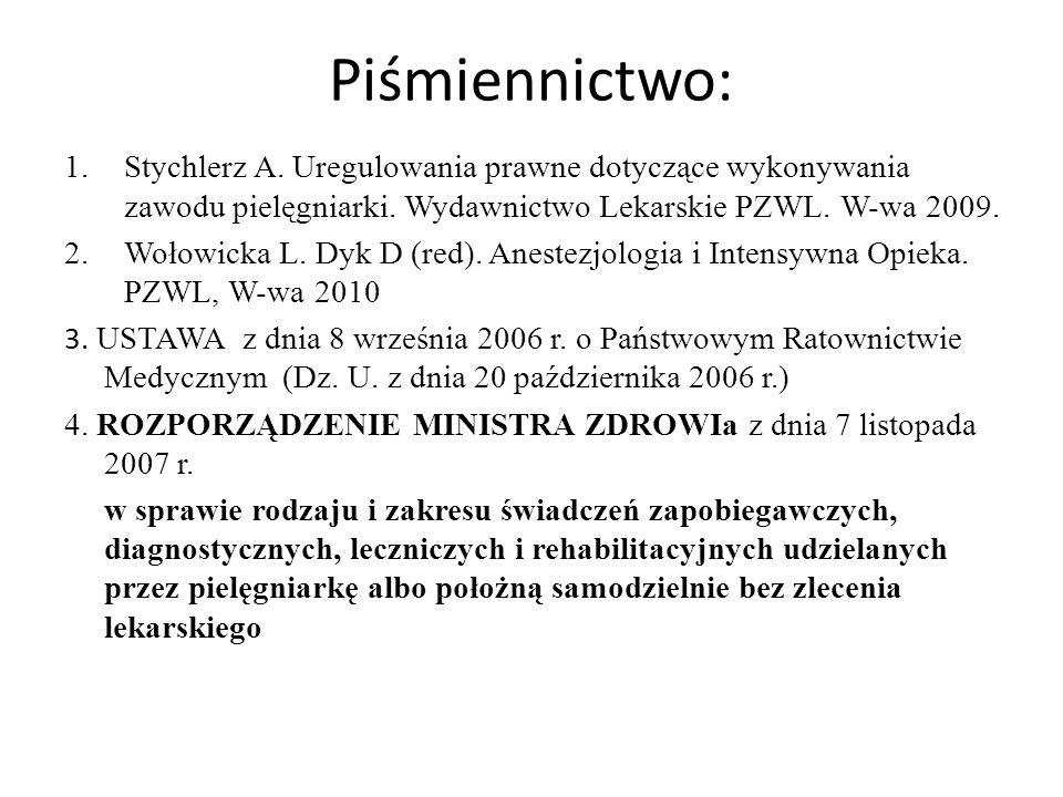 Piśmiennictwo: 1.Stychlerz A. Uregulowania prawne dotyczące wykonywania zawodu pielęgniarki. Wydawnictwo Lekarskie PZWL. W-wa 2009. 2.Wołowicka L. Dyk