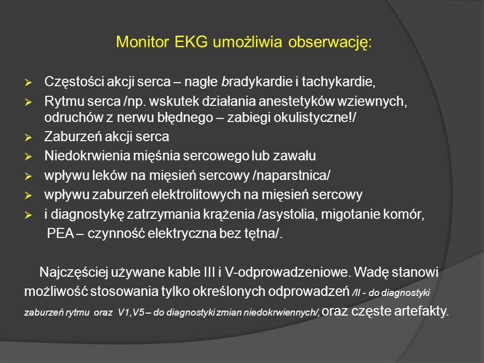 Monitor EKG umożliwia obserwację: Częstości akcji serca – nagłe bradykardie i tachykardie, Rytmu serca /np. wskutek działania anestetyków wziewnych, o