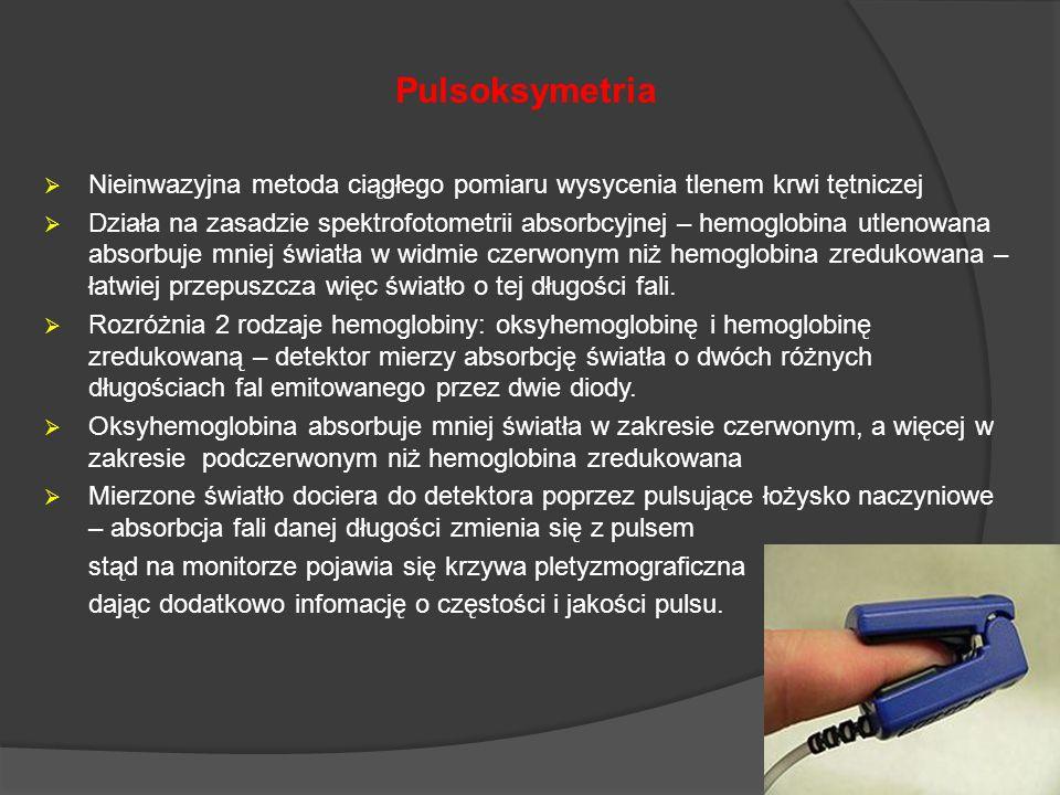 Pulsoksymetria Nieinwazyjna metoda ciągłego pomiaru wysycenia tlenem krwi tętniczej Działa na zasadzie spektrofotometrii absorbcyjnej – hemoglobina ut
