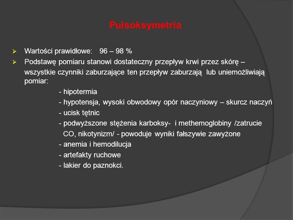 Pulsoksymetria Wartości prawidłowe: 96 – 98 % Podstawę pomiaru stanowi dostateczny przepływ krwi przez skórę – wszystkie czynniki zaburzające ten prze