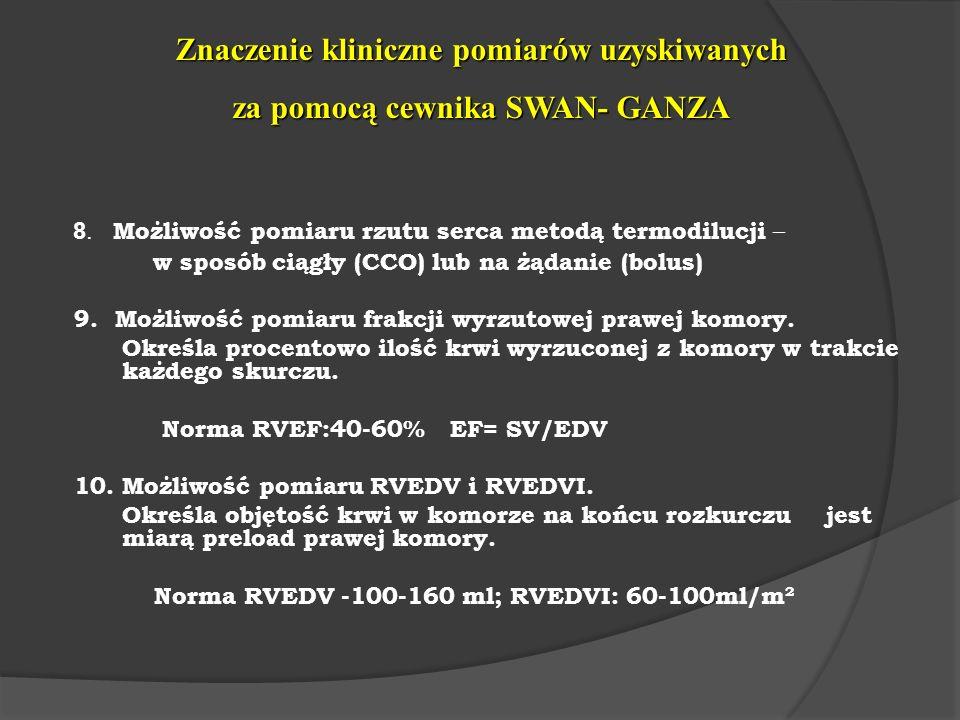 Znaczenie kliniczne pomiarów uzyskiwanych za pomocą cewnika SWAN- GANZA 8. Możliwość pomiaru rzutu serca metodą termodilucji – w sposób ciągły (CCO) l