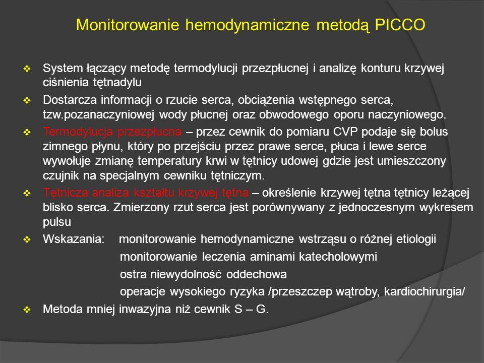 Monitorowanie hemodynamiczne metodą PICCO System łączący metodę termodylucji przezpłucnej i analizę konturu krzywej ciśnienia tętnadylu Dostarcza info