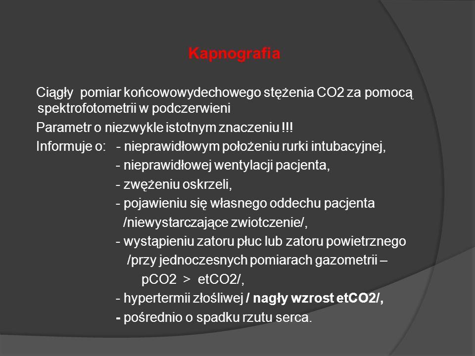 Kapnografia Ciągły pomiar końcowowydechowego stężenia CO2 za pomocą spektrofotometrii w podczerwieni Parametr o niezwykle istotnym znaczeniu !!! Infor