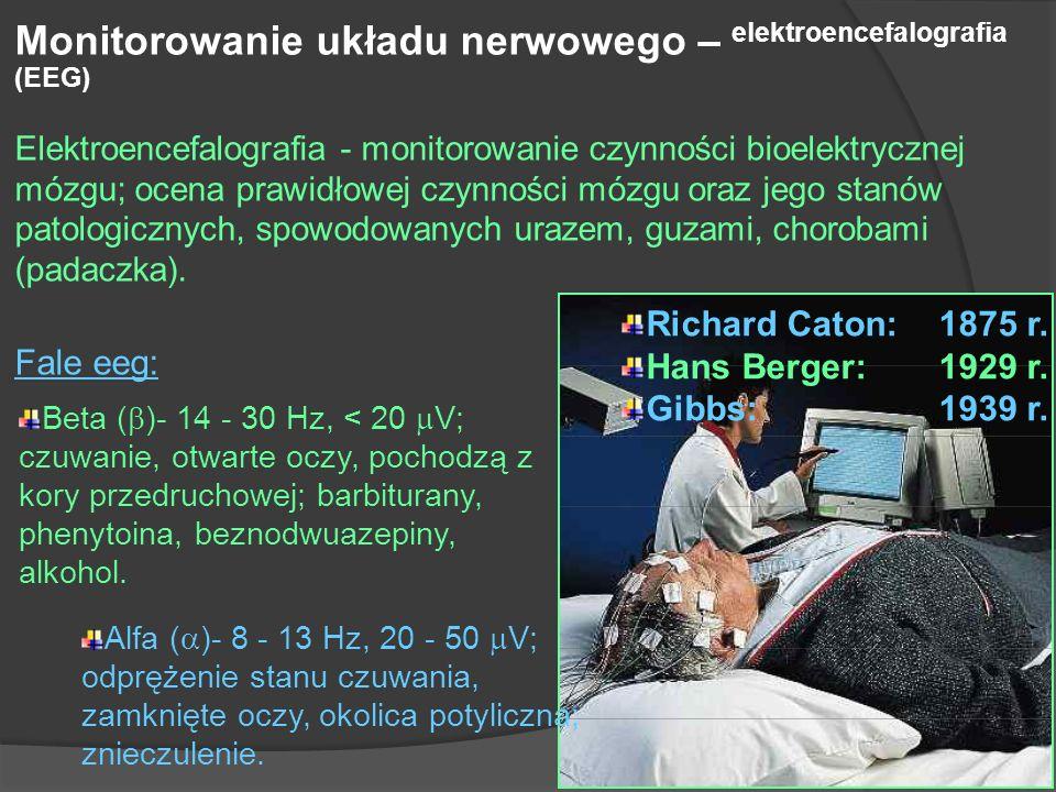 Monitorowanie układu nerwowego – elektroencefalografia (EEG) Elektroencefalografia - monitorowanie czynności bioelektrycznej mózgu; ocena prawidłowej