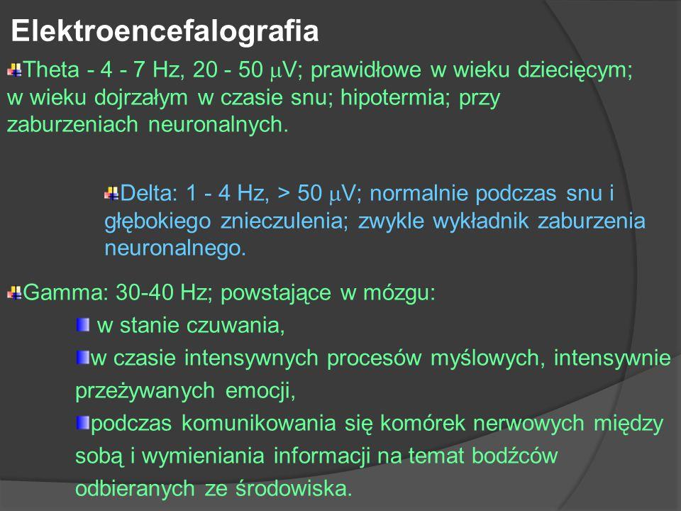 Elektroencefalografia Theta - 4 - 7 Hz, 20 - 50 V; prawidłowe w wieku dziecięcym; w wieku dojrzałym w czasie snu; hipotermia; przy zaburzeniach neuron