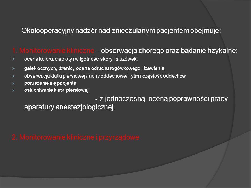 Okołooperacyjny nadzór nad znieczulanym pacjentem obejmuje: 1. Monitorowanie kliniczne – obserwacja chorego oraz badanie fizykalne: ocena koloru, ciep
