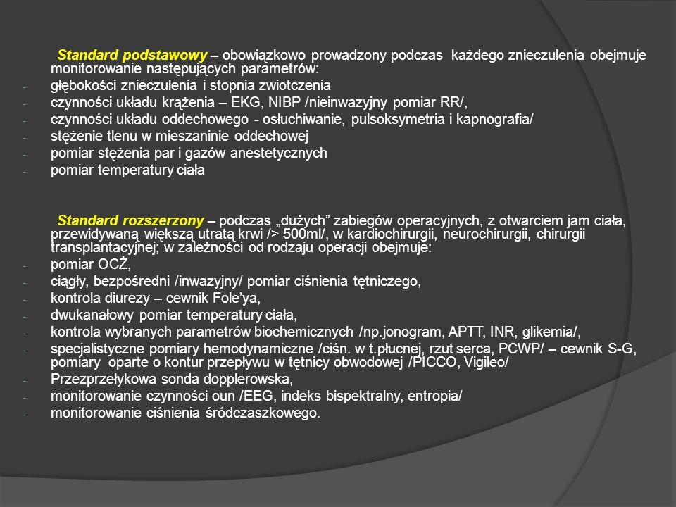 Standard podstawowy – obowiązkowo prowadzony podczas każdego znieczulenia obejmuje monitorowanie następujących parametrów: - głębokości znieczulenia i