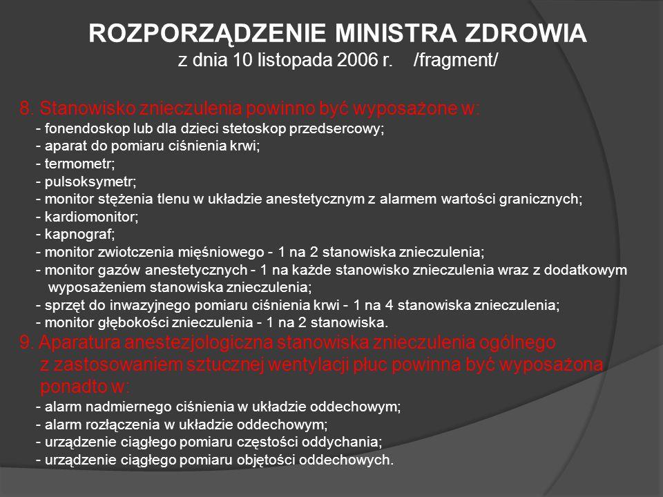 ROZPORZĄDZENIE MINISTRA ZDROWIA z dnia 10 listopada 2006 r. /fragment/ 8. Stanowisko znieczulenia powinno być wyposażone w: - fonendoskop lub dla dzie