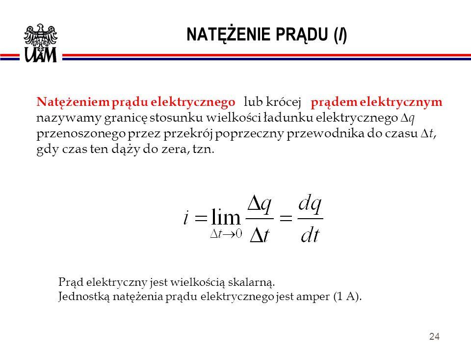 23 ŁADUNEK ELEKTRYCZNY ( Q ) Jednostka ładunku jest Kulomb [ C ]. e jest ładunkiem elementarnym = ładunkowi elektronu.