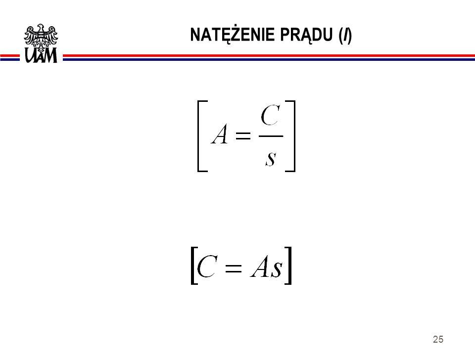 24 NATĘŻENIE PRĄDU ( I ) Natężeniem prądu elektrycznego lub krócej prądem elektrycznym nazywamy granicę stosunku wielkości ładunku elektrycznego q przenoszonego przez przekrój poprzeczny przewodnika do czasu t, gdy czas ten dąży do zera, tzn.