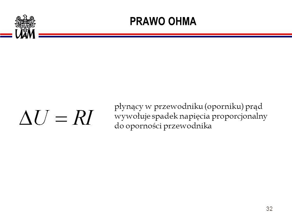 31 PRAWO OHMA natężenie prądu I w przewodniku jest i odwrotnie proporcjonalne do jego oporności R. wprost proporcjonalne do napięcia U na jego końcach