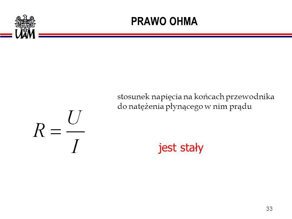 32 PRAWO OHMA płynący w przewodniku (oporniku) prąd wywołuje spadek napięcia proporcjonalny do oporności przewodnika