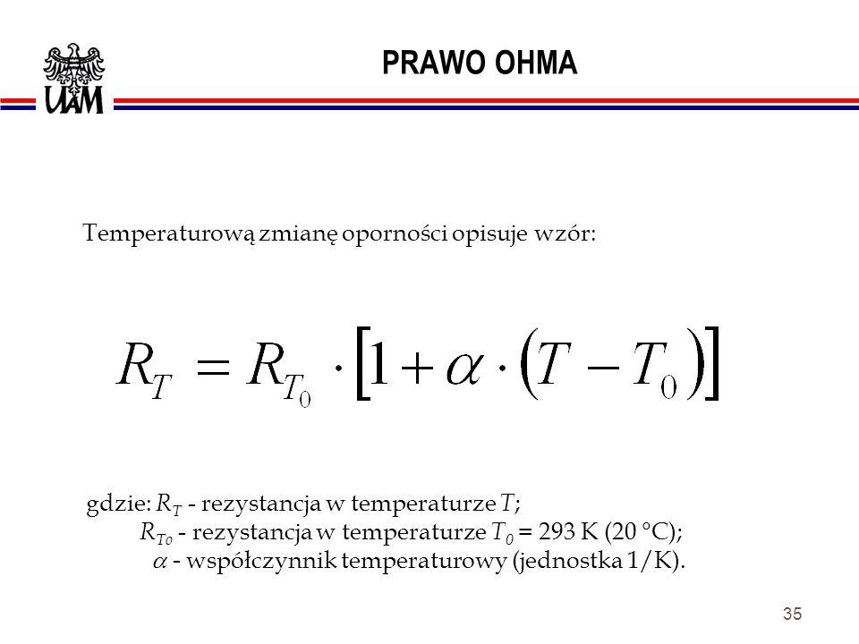 34 PRAWO OHMA Oporność przewodnika zależy od rodzaju materiału ( ); jest wprost proporcjonalna do jego długości ( l ) i odwrotnie proporcjonalna do pola przekroju poprzecznego ( S ).