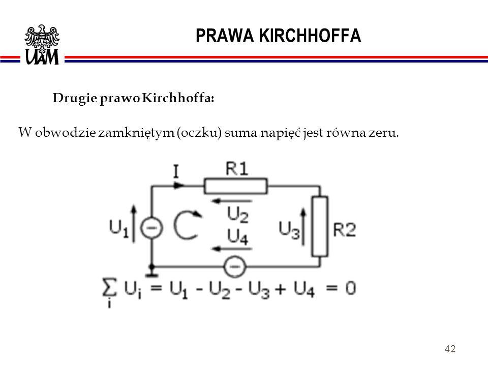 41 PRAWA KIRCHHOFFA Suma prądów wpływających do węzła jest równa sumie prądów z niego wypływających. Pierwsze prawo Kirchhoffa: Suma prądów w węźle je