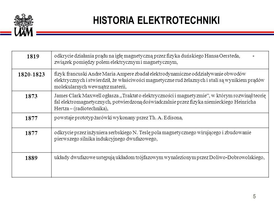 4 HISTORIA ELEKTROTECHNIKI około 600 lat p.n.e znane były (Grecja) właściwości rudy żelaznej (Fe 3 O 4 ) - przyciągania przedmiotów żelaznych i właści