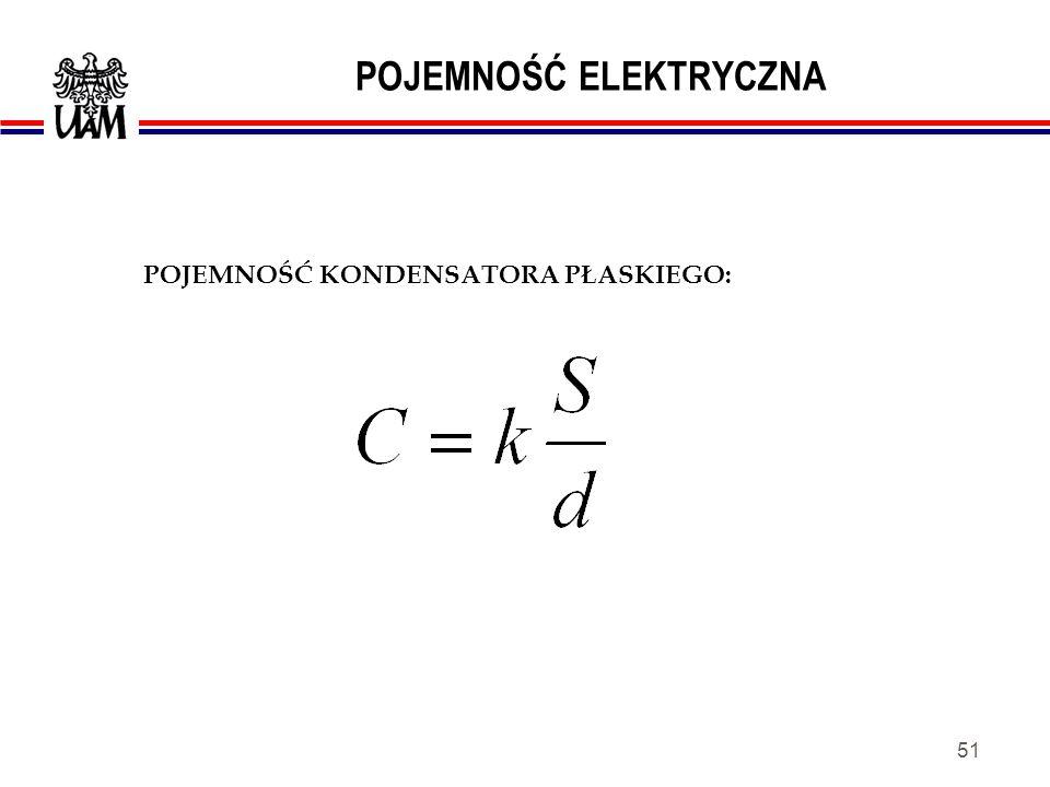 50 POJEMNOŚĆ ELEKTRYCZNA Kondensator a) symbol graficzny b) charakterystyka Równanie opisujące zależność pomiędzy napięciem i prądem: Kondensator - element elektryczny (elektroniczny) zbudowany z dwóch przewodników (okładzin) rozdzielonych dielektrykiem.