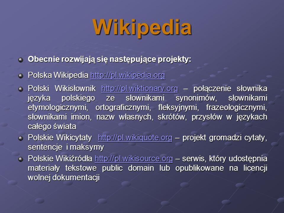 Wikipedia Obecnie rozwijają się następujące projekty: Polska Wikipedia http://pl.wikipedia.org http://pl.wikipedia.org Polski Wikisłownik http://pl.wi