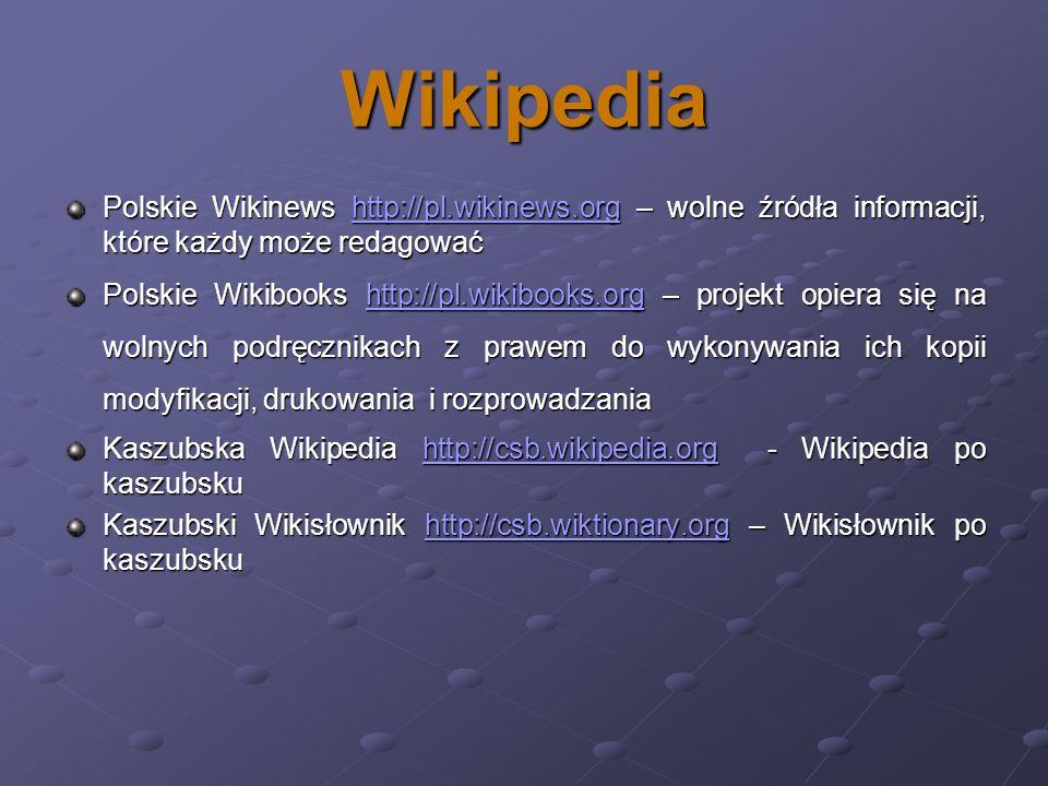 Wikipedia Polskie Wikinews http://pl.wikinews.org – wolne źródła informacji, które każdy może redagować http://pl.wikinews.org Polskie Wikibooks http: