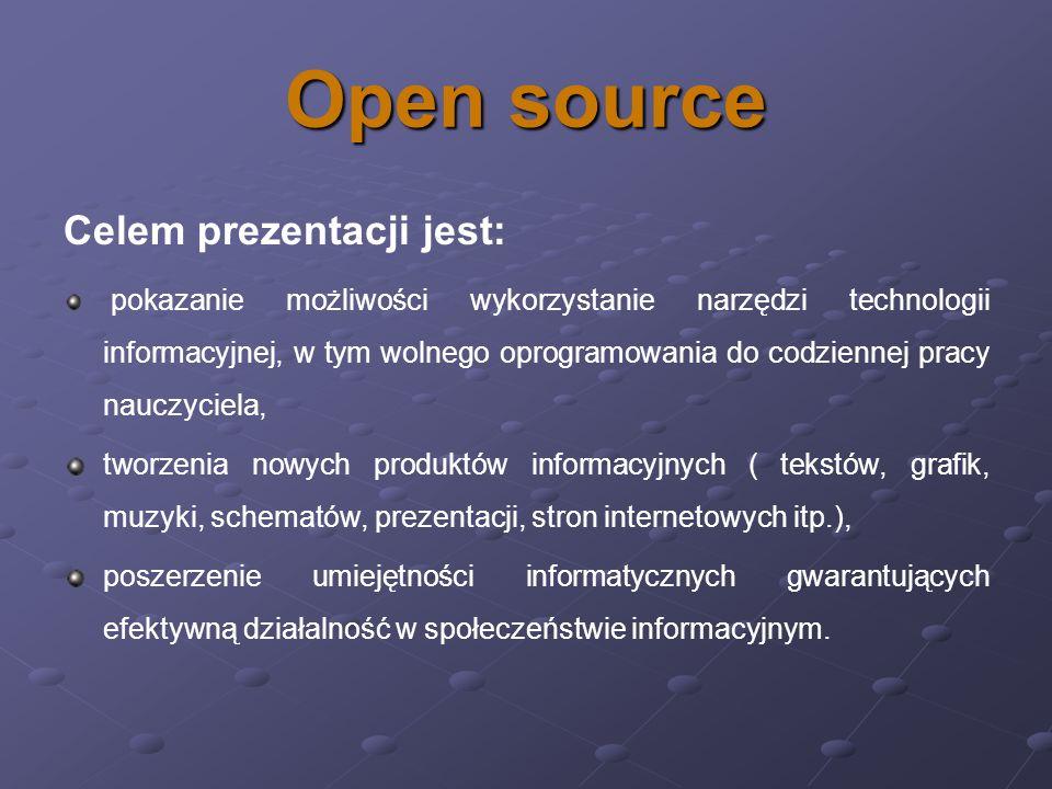 OpenOffice Najnowsza wersja w pełni darmowego pakietu OpenOffice, rozpowszechnianego na zasadach Open Source zawiera niezależne aplikacje: procesor tekstu Writer, arkusz kalkulacyjny Calc, moduł bazodanowy Base, program graficzny Draw, a także program do tworzenia prezentacji Impress.