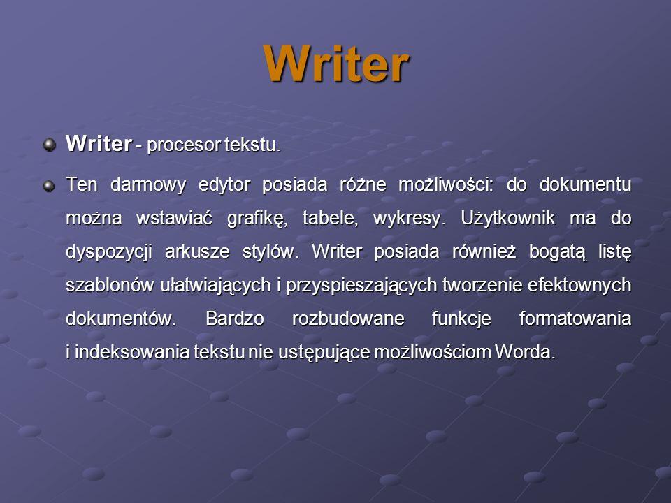 Writer Writer - procesor tekstu. Ten darmowy edytor posiada różne możliwości: do dokumentu można wstawiać grafikę, tabele, wykresy. Użytkownik ma do d
