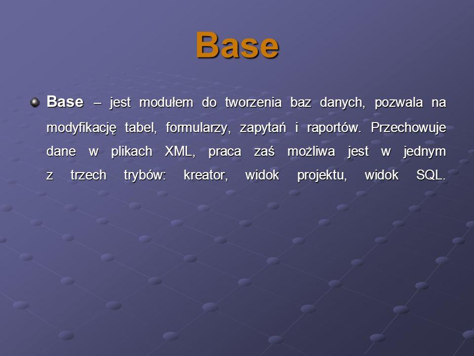 Base Base – jest modułem do tworzenia baz danych, pozwala na modyfikację tabel, formularzy, zapytań i raportów. Przechowuje dane w plikach XML, praca