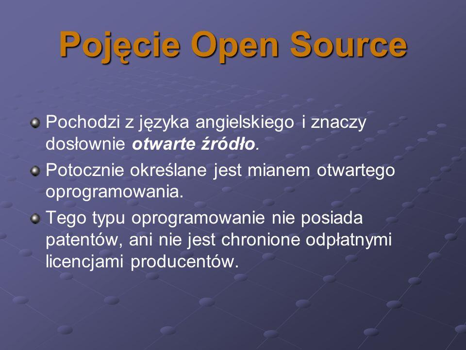 Pojęcie Open Source Pochodzi z języka angielskiego i znaczy dosłownie otwarte źródło. Potocznie określane jest mianem otwartego oprogramowania. Tego t