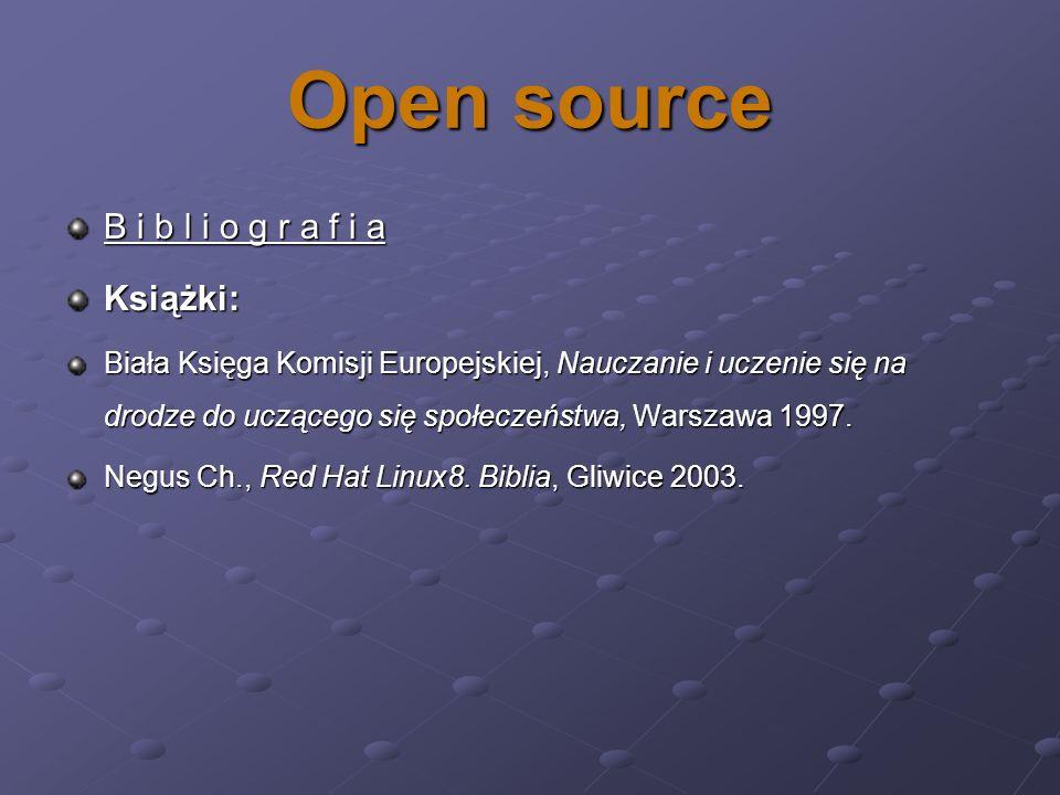Open source B i b l i o g r a f i a Książki: Biała Księga Komisji Europejskiej, Nauczanie i uczenie się na drodze do uczącego się społeczeństwa, Warsz