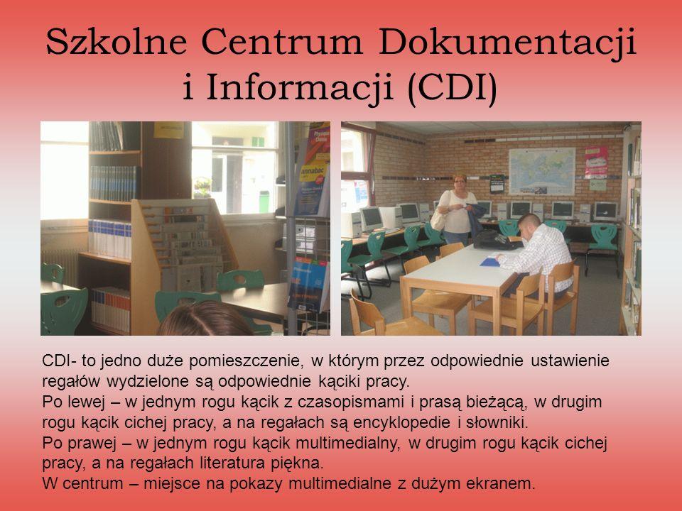 Szkolne Centrum Dokumentacji i Informacji (CDI) CDI- to jedno duże pomieszczenie, w którym przez odpowiednie ustawienie regałów wydzielone są odpowied