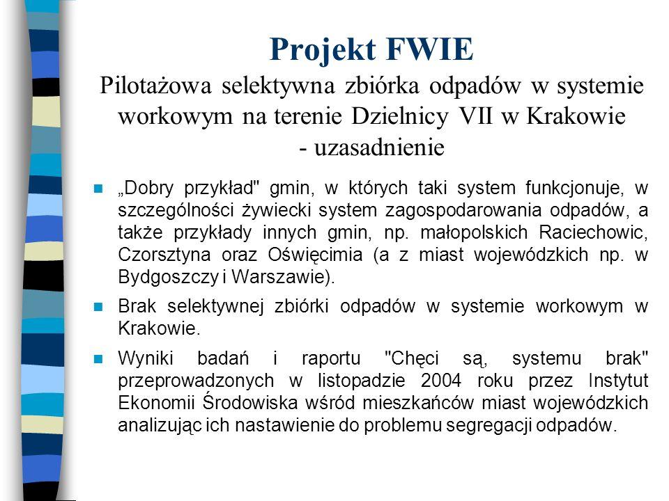Projekt FWIE Pilotażowa selektywna zbiórka odpadów w systemie workowym na terenie Dzielnicy VII w Krakowie - uzasadnienie Dobry przykład gmin, w których taki system funkcjonuje, w szczególności żywiecki system zagospodarowania odpadów, a także przykłady innych gmin, np.