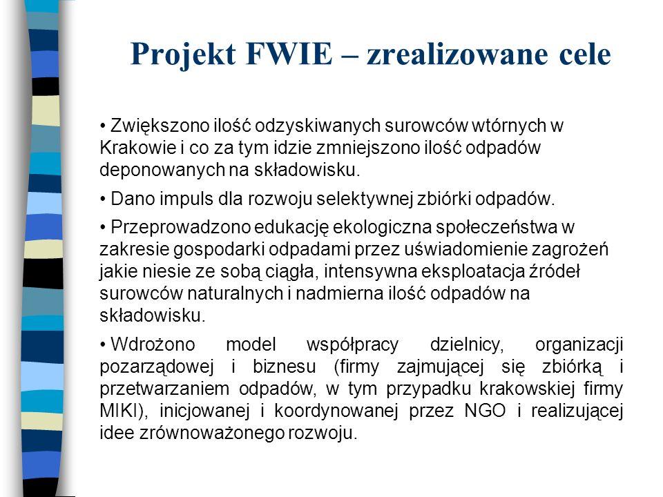 Projekt FWIE – zrealizowane cele Zwiększono ilość odzyskiwanych surowców wtórnych w Krakowie i co za tym idzie zmniejszono ilość odpadów deponowanych na składowisku.