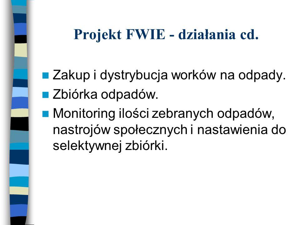 Projekt FWIE - działania cd. Zakup i dystrybucja worków na odpady.
