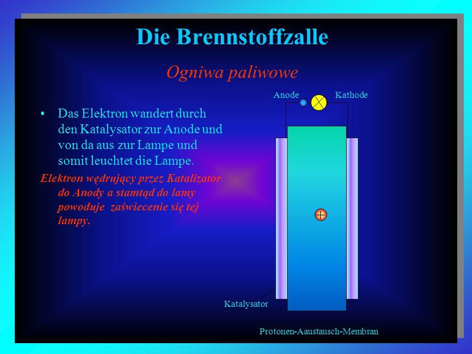 Die Brennstoffzalle Ogniwa paliwowe Das Elektron wandert durch den Katalysator zur Anode und von da aus zur Lampe und somit leuchtet die Lampe. Elektr