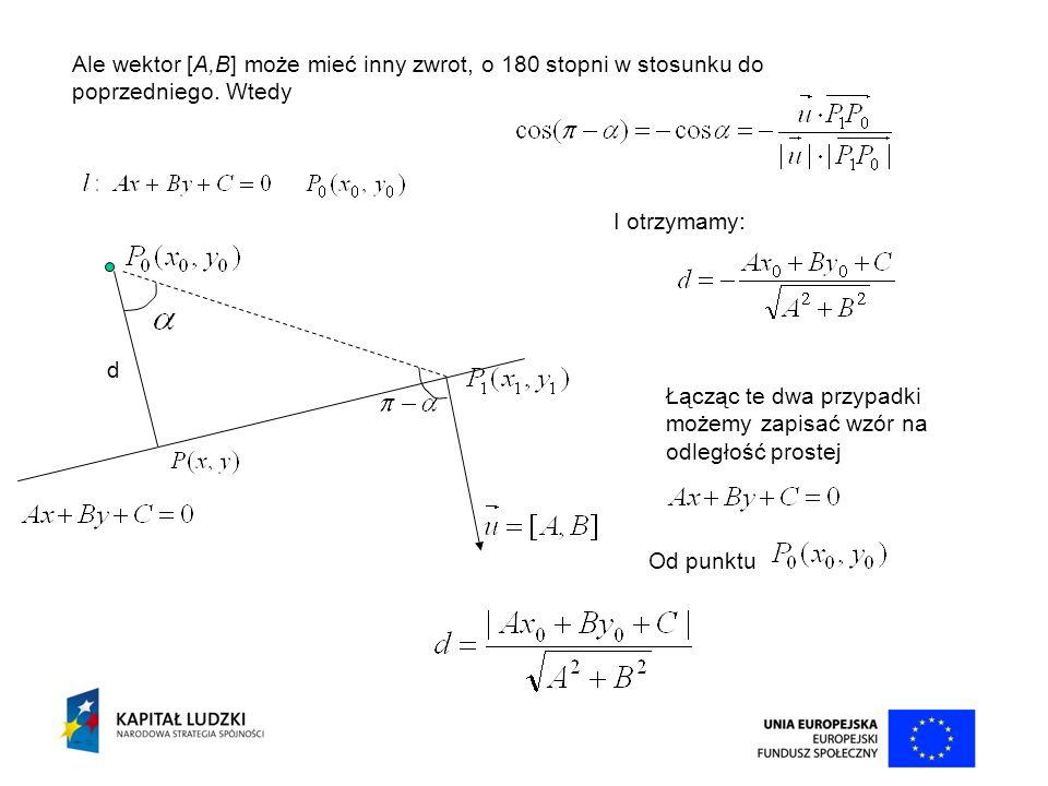 d Ale wektor [A,B] może mieć inny zwrot, o 180 stopni w stosunku do poprzedniego. Wtedy I otrzymamy: Łącząc te dwa przypadki możemy zapisać wzór na od