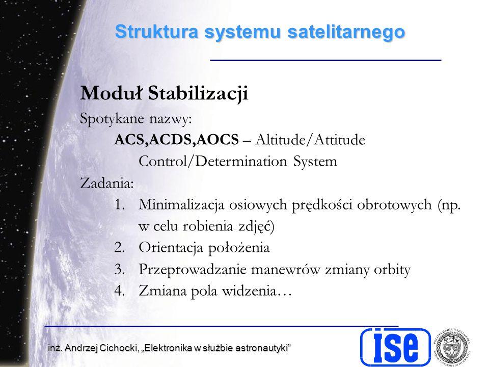 inż. Andrzej Cichocki, Elektronika w służbie astronautyki Struktura systemu satelitarnego Moduł Stabilizacji Spotykane nazwy: ACS,ACDS,AOCS – Altitude