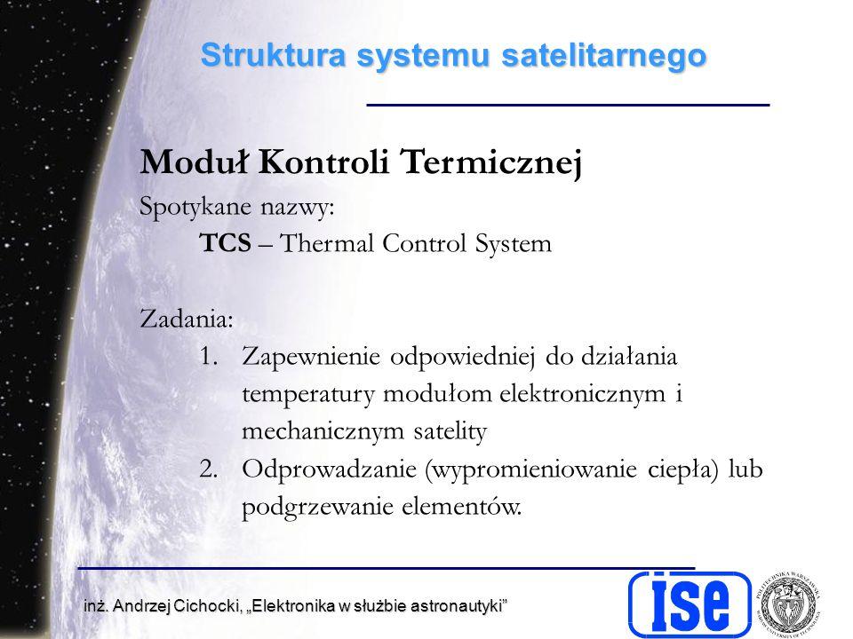 inż. Andrzej Cichocki, Elektronika w służbie astronautyki Struktura systemu satelitarnego Moduł Kontroli Termicznej Spotykane nazwy: TCS – Thermal Con