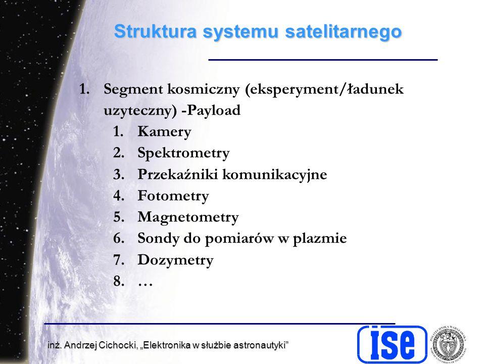inż. Andrzej Cichocki, Elektronika w służbie astronautyki Struktura systemu satelitarnego 1.Segment kosmiczny (eksperyment/ładunek uzyteczny) -Payload