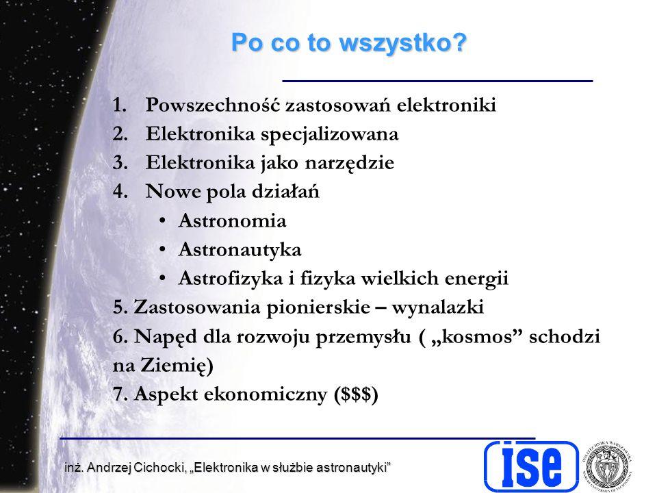 inż. Andrzej Cichocki, Elektronika w służbie astronautyki Po co to wszystko.