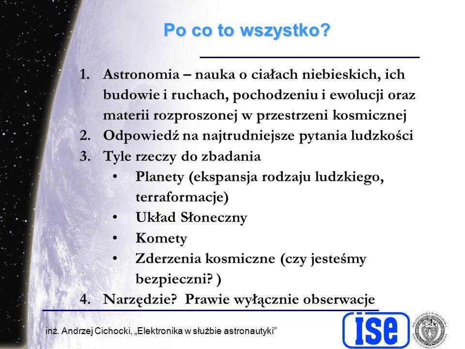 inż.Andrzej Cichocki, Elektronika w służbie astronautyki Po co to wszystko.