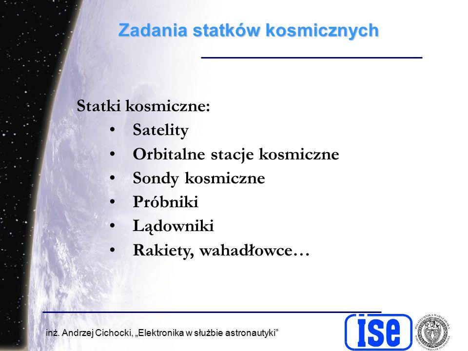 inż. Andrzej Cichocki, Elektronika w służbie astronautyki Zadania statków kosmicznych Statki kosmiczne: Satelity Orbitalne stacje kosmiczne Sondy kosm