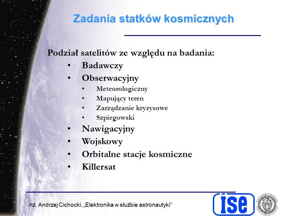 inż. Andrzej Cichocki, Elektronika w służbie astronautyki Zadania statków kosmicznych Podział satelitów ze względu na badania: Badawczy Obserwacyjny M