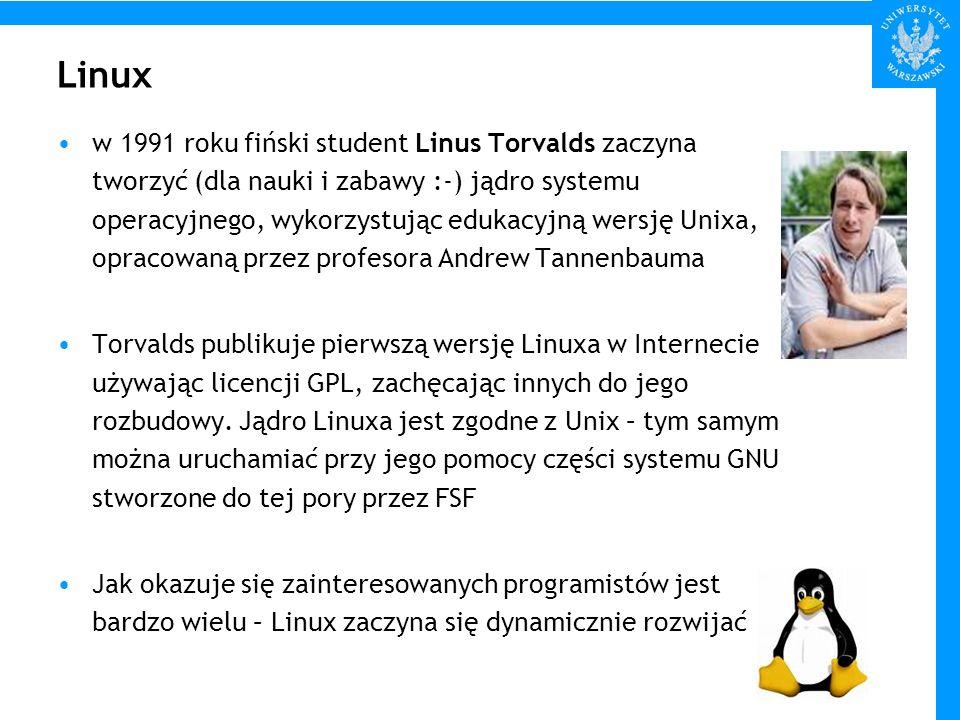 Linux w 1991 roku fiński student Linus Torvalds zaczyna tworzyć (dla nauki i zabawy :-) jądro systemu operacyjnego, wykorzystując edukacyjną wersję Un