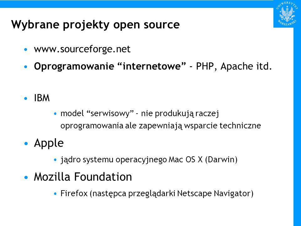 Wybrane projekty open source www.sourceforge.net Oprogramowanie internetowe - PHP, Apache itd. IBM model serwisowy - nie produkują raczej oprogramowan