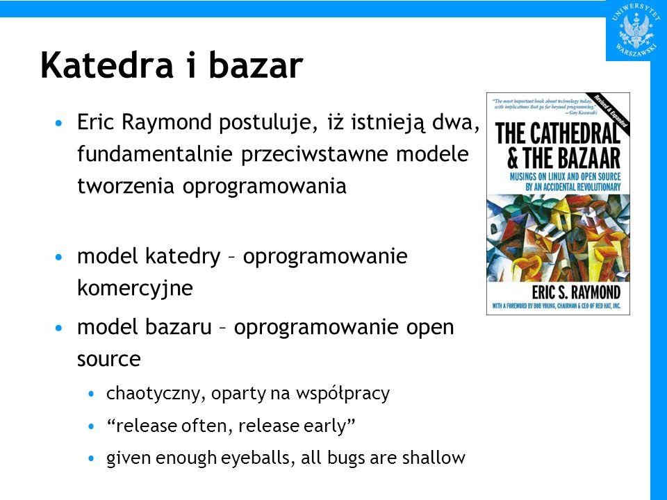 Katedra i bazar Eric Raymond postuluje, iż istnieją dwa, fundamentalnie przeciwstawne modele tworzenia oprogramowania model katedry – oprogramowanie k