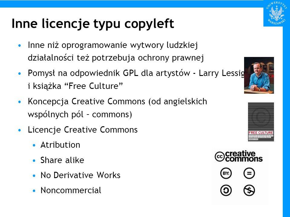 Inne licencje typu copyleft Inne niż oprogramowanie wytwory ludzkiej działalności też potrzebuja ochrony prawnej Pomysł na odpowiednik GPL dla artystó
