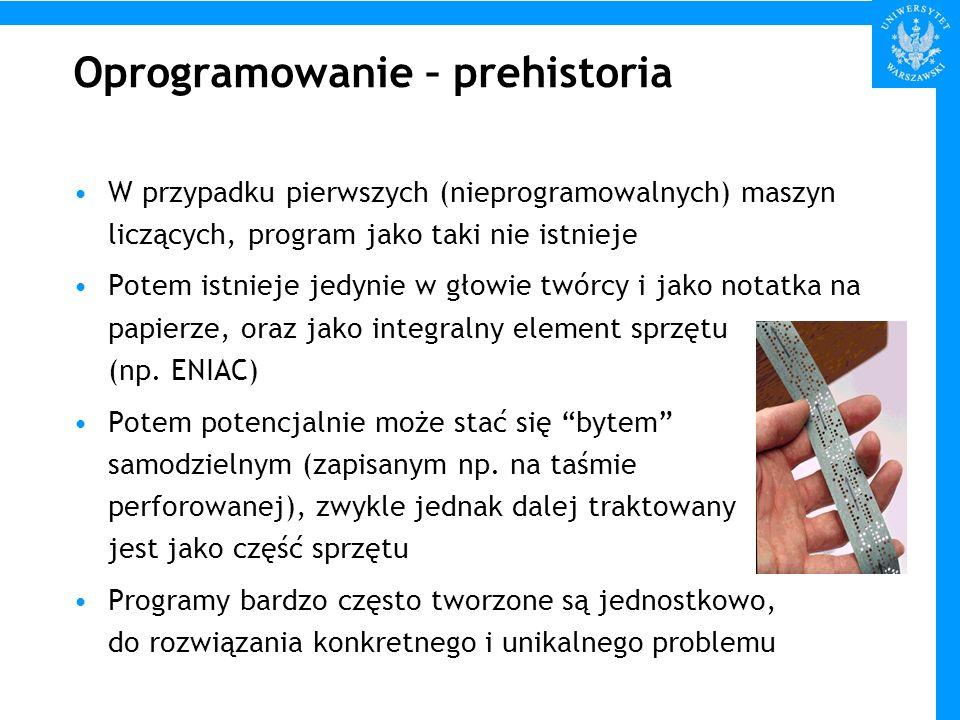 Oprogramowanie – prehistoria W przypadku pierwszych (nieprogramowalnych) maszyn liczących, program jako taki nie istnieje Potem istnieje jedynie w gło