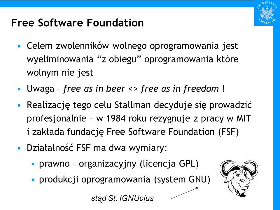 Licencja GPL licencje dotyczące oprogramowania – oprogramowanie nie jest sprzedawane, jest jedynie użyczane użytkownikowi do wykorzystania typowe rodzaje oprogramowania – komercyjne, freeware, shareware, public domain typowa nazwa licencji – End User License Agreement (EULA) – służy przede wszystkim wyłączeniu odpowiedzialności producenta za wady produktu, oraz ograniczeniu praw użytkownika związanych z kopiowaniem programu typowy tekst licencji zawiera zwykle tego rodzaju klauzulę no guarantee, including fitness for particular purpose