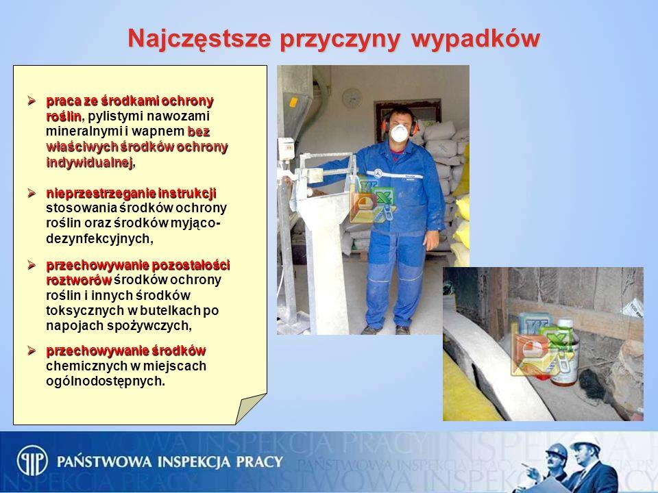 Najczęstsze przyczyny wypadków praca ze środkami ochrony roślin bez właściwych środków ochrony indywidualnej, praca ze środkami ochrony roślin, pylist