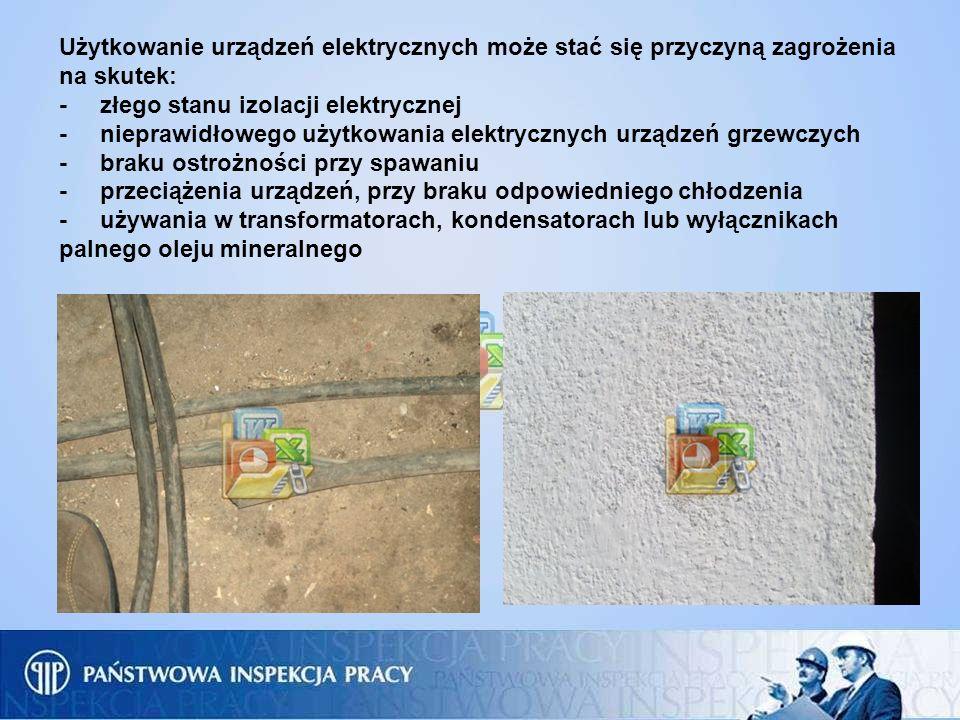 Użytkowanie urządzeń elektrycznych może stać się przyczyną zagrożenia na skutek: - złego stanu izolacji elektrycznej - nieprawidłowego użytkowania ele