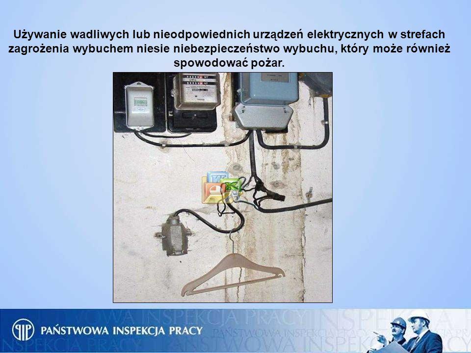 Używanie wadliwych lub nieodpowiednich urządzeń elektrycznych w strefach zagrożenia wybuchem niesie niebezpieczeństwo wybuchu, który może również spow
