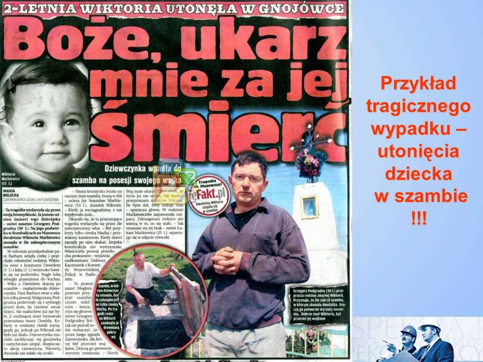 Przykład tragicznego wypadku – utonięcia dziecka w szambie !!!